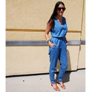 Chambray Jumpsuit With Pockets